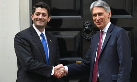 Paul Ryan and Philip Hammond outside 11 Downing Street