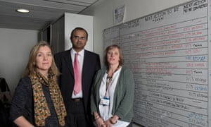 L-R, consultant psychiatrists Drs Nuala Mullan and Balu Pitchiah with Selena Cox, a mental health nurse, in front of the board where they record every patient referred to them.