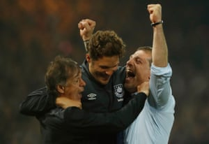 Slaven Bilic celebrates after the match.