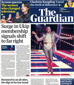 Guardian front page, Monday 4 March 2019