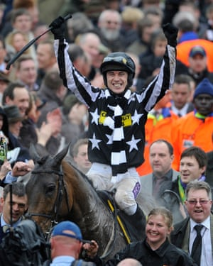 Paddy Brennan celebrates victory on board Imperial Commander in the Cheltenham Gold Cup in 2010