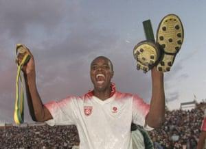 Phil Masinga enjoys South Africa's triumph.