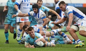 Exeter's Henry Slade scores their fifth try at Sandy Park