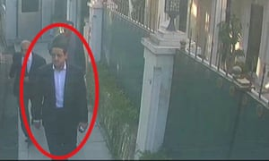 In a still image from surveillance camera footage.