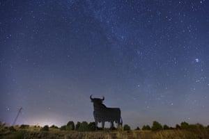 Meteors shoot across the sky above a fighting bull in Redueña, Spain