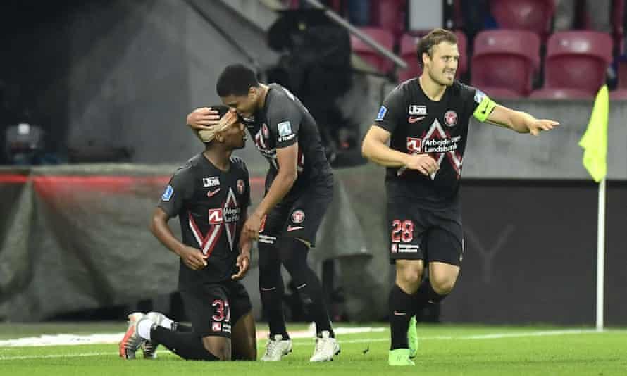 Raphael Nwadike celebrates scoring the winner for Midtjylland