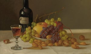 Still life, fruit and wine glass, by John F Francis.