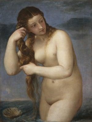 Venus Rising from the Sea ('Venus Anadyomene') (c1520) by Titian.
