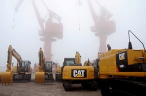 Caterpillar machines are seen at Lianyungang port in Jiangsu province, China.