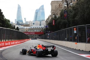 Max Verstappen leads comfortably from teammate Sergio Perez.