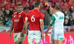 Mako Vunipola, left, is shown a yellow card by Jérôme Garcès during the Lions' 24-21 victory over New Zealand at the Westpac Stadium in Wellington.
