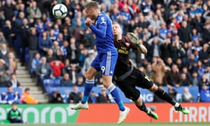 Leicester City's Jamie Vardy scores their second goal.