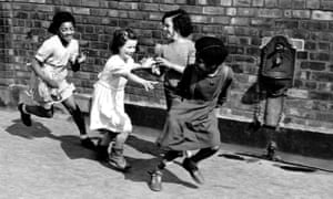 """We had better accept and respect ways of thinking, eating and praying that are differen"": children play together in Liverpool in 1949."