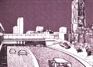 Highways for cars, skyways for pedestrians.