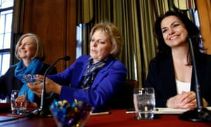 Sarah Wollaston, Anna Soubry and Heidi Allen attend a news conference in London on 20 February 2019
