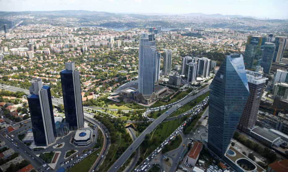The business and financial district of Levent, as seen from the Sapphire Tower, which was financed through loans worth 164m lira in 2013.