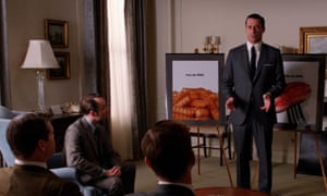 Don Draper delivering a compelling pitch to Heinz in Mad Men.