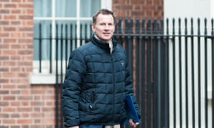 Secretary of State for Health and Social Care Jeremy Hunt arrives for a weekly cabinet meeting at 10 Downing Street