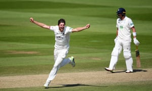 Jamie Overton of Somerset celebrates taking the wicket of Kyle Abbott of Hampshire.