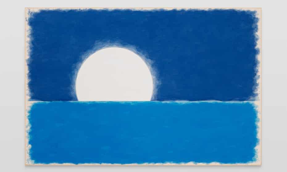 Ugo Rondinone's achtundzwanzigsterjunizweitausendundzwanzig, 2020 (accompanied by Perspex plaque) watercolour on canvas, artist's frame; Perspex plaque site size: 200.2 x 300.2 x 4.5 cm / 78 ⅞ x 118 ¼ x 1 ¾ in