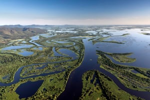 Aerial shot of the winding waterways which make up the Pantanal wetlands, flooded for a large part of the year.