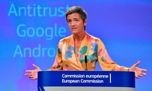 European Union competition commissioner Margrethe Vestager gives a press conference in Brussels on 18 July 2018, the day the EU gave Google 90 days to end 'illegal' practices surrounding its Android operating system or face further fines, after slapping a record €4.34bn penalty on the US tech giant.