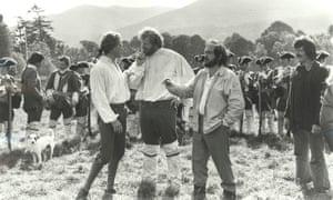 Kubrick on the set with Ryan O'Neal