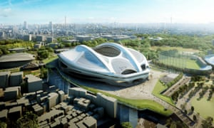 An illustration released from the Japan Sport Council in May 2014 showing Zaha Hadid's design for the stadium.