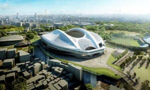 Artist's impression of Zaha Hadid's Tokyo Olympic Stadium.