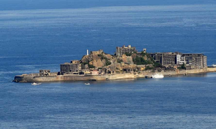 Gunkanjima coalmine, known as Battleship island, in Nagasaki prefecture – one of the sites granted world heritage status by Unesco after South Korea dropped its opposition.