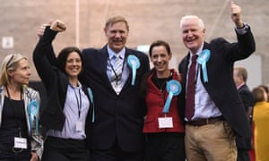 The Brexit party's Tracy Knowles, Anna Bailey, Jonathan Bullock, Annunziata Rees-Mogg and Matthew Patten celebrate the result at the count in Kettering.