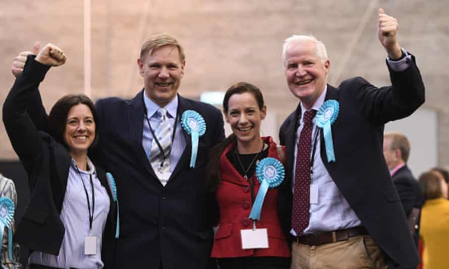 Brexit party's Anna Bailey, Jonathan Bullock, Annunziata Rees-Mogg and Matthew Patten celebrate.