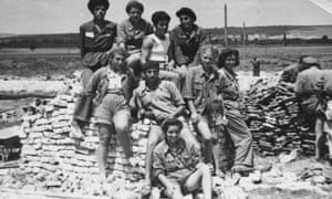A group of young volunteers pose during the construction of Dimitrovgrad