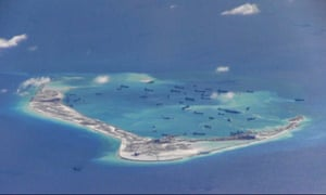 image from United States Navy video purportedly shows Chinese dredging vessels in the waters around Mischief Reef in the disputed Spratly Islands.