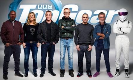The new Top Gear's presenters: (from left) Rory Reid, Sabine Schmitz, Matt LeBlanc, Chris Evans, Chris Harris, Eddie Jordan, The Stig