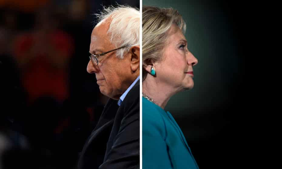 Hillary Clinton and Bernie Sanders facing opposite directions - composite