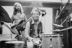 English bassist and singer Paul Gurvitz (left) and Baker, of the group Baker-Gurvitz Army, in a studio in August 1974.