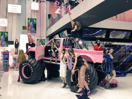 Pink truck display at Missguided's flagship store