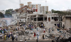 The scene of the explosion in Mogadishu