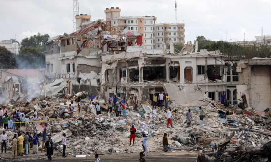 The scene of the explosion in Mogadishu