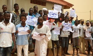 Migrants in Agadez stage a protest