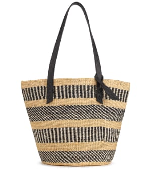 woven tote bag with tall leather handles