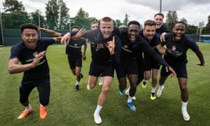 Members of the England squad during a training session in Zelenogorsk near St Petersburg last month.