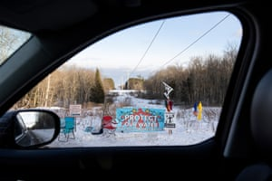 Banners and signs in protest of Line 3 in Palisade, Minnesota.
