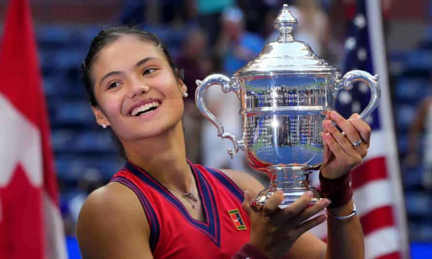 Emma Raducanu celebrates with the US Open trophy after beating Canada's Leylah Fernandez in the final at Flushing Meadows.