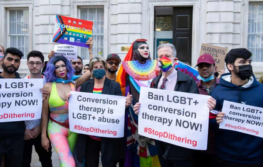 Members of the LGBT+ community including Jayne Ozanne and Peter Tatchell lead an anti conversion therapy demonstration outside the cabinet office in London, 23 June