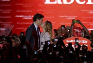 Justin Trudeau kisses his wife Sophie