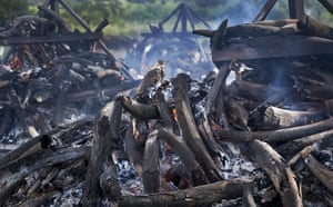 The still-smouldering pyres of more than 100 tonnes of ivory continue to burn in Nairobi national park