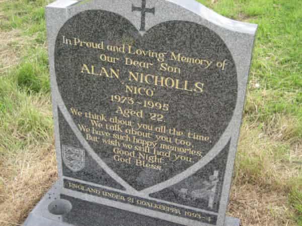 The headstone of Alan Nicholls at St Paul's Church in Halesowen.