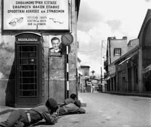 Nicosia, 1964 Greek Cypriot police take up positions facing the Turkish quarter